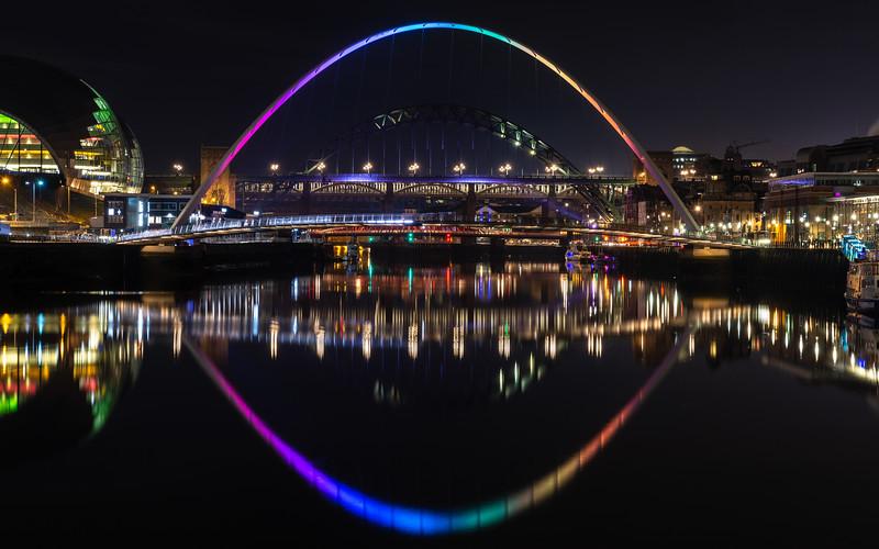 Gateshead Millennium Bridge and quayside