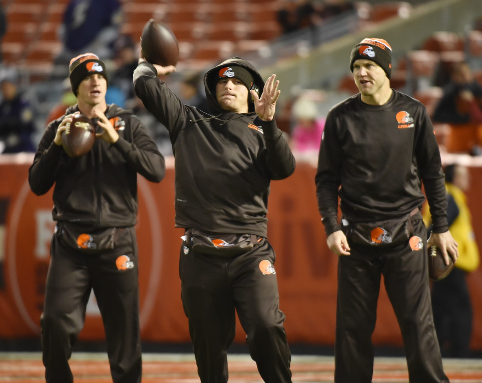 . News-Herald file Browns\' backup quarterback Johnny Manziel, center, throws during warmups with Josh McCown, right, and Austin Davis, left, prior to the start of the Browns vs Ravens game on Nov. 30 at FirstEnergy Stadium.