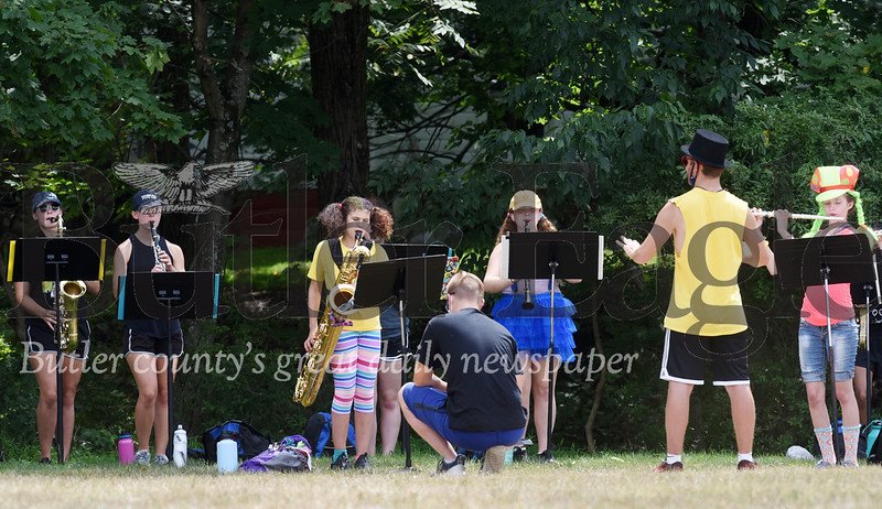 Harold Aughton/Butler Eagle: Social distancing was the key to Mars High School's band camp, Monday, August 3, 2020.