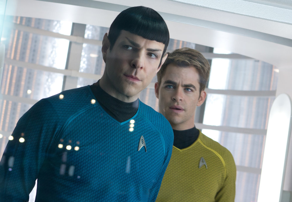 . (Left to right) Zachary Quinto is Spock and Chris Pine is Kirk in STAR TREK INTO DARKNESS, from Paramount Pictures and Skydance Productions.   (Photo by Zade Rosenthal)