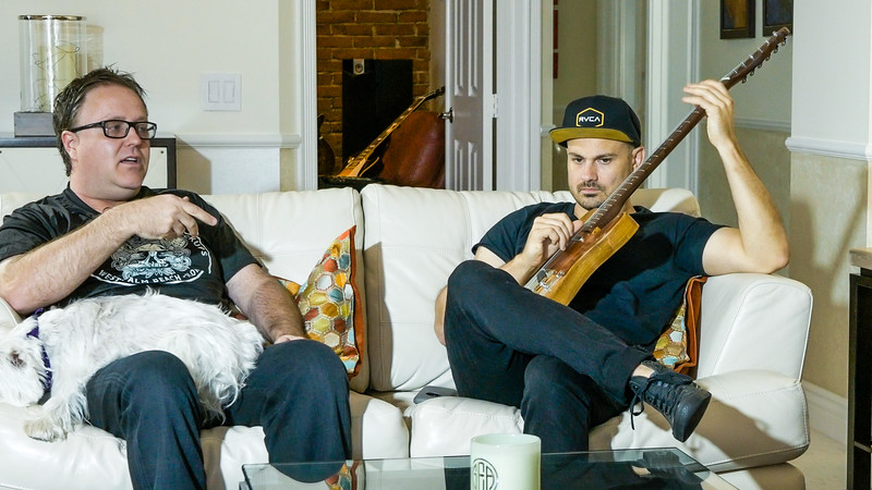 Greg Simpson (left), Chris Condon of Lust for Tone, a local custom guitar and pickup  company talk about their products at Greg Simpson's house in West Palm Beach on Friday, July 13, 2018. (Joseph Forzano / The Palm Beach Post)
