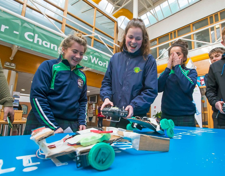 "02/03/2016. FREE TO USE IMAGE. Engineers Week at WIT (Waterford Institute of Technology). Pictured during ""Robot Wars"" are Shannon Wall, Aimee Flemming and Meave Ryan from St. Marys Secondary School, New Ross, Co. Wexford. Picture: Patrick Browne"