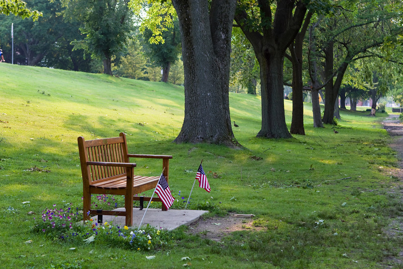 Memorial bench near Clay Pit Pond.
