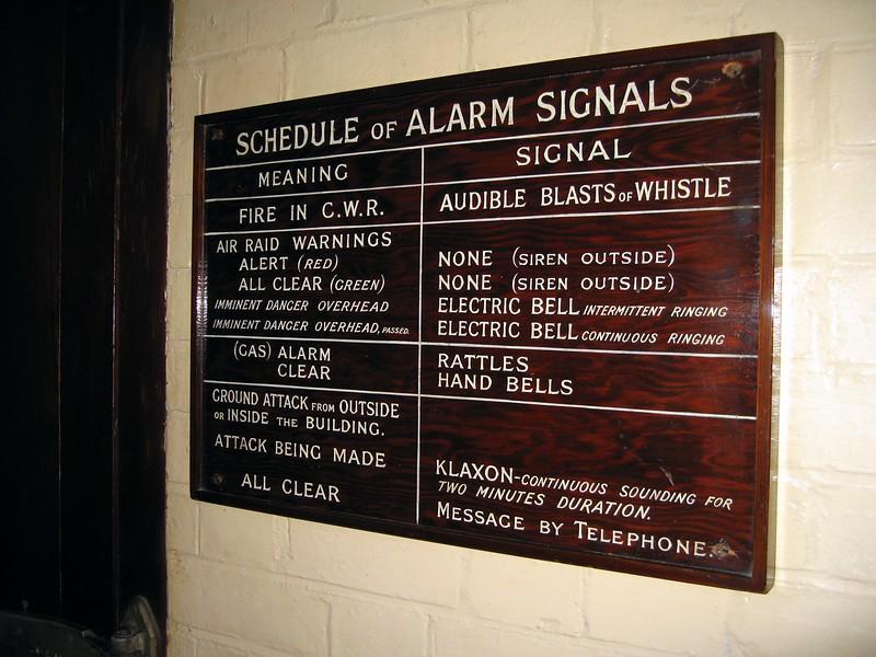 Schedule of alarm signals