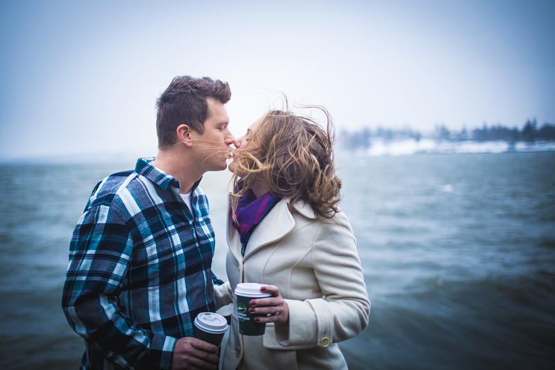 Windy day engagement photos on Skaneateles