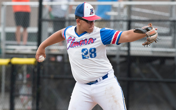 08/06/19 Wesley Bunnell | Staff New Jersey defeated Maryland in a Mid-Atlantic Little League tournament game on Tuesday afternoon at Breen Field in Bristol. New Jersey pitcher Yady Mateo (28).
