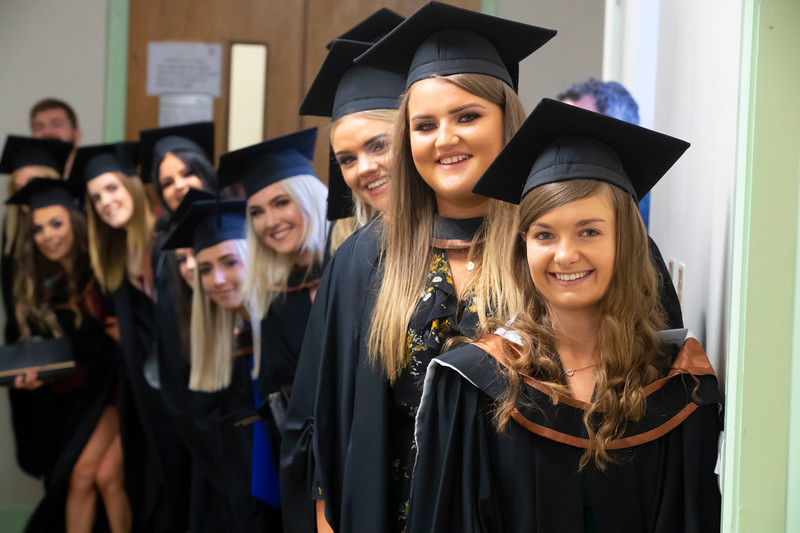 31/10/2019. Waterford Institute of Technology (WIT) Conferring Ceremonies. Pictured on the right is Clodagh Bradshaw Fethard Co. Tipperary with some of her class  who all graduated BA Hons in Applied Social Studies in Social Care . Picture: Patrick Browne
