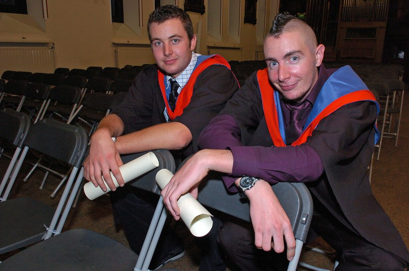 Provision 251006 Leonard Fennell (Carlow) and Peter Cowley (Dublin) both graduated with Higher Certificates in Science in Agriculture from WIT yesterday (Tuesday). PIC Bernie Keating/Provision