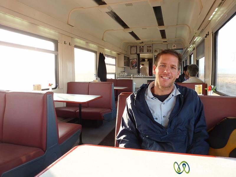 Dan in the Dining Car of Turkish Train