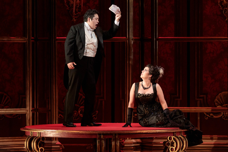 "Kang Wang as Alfredo and Amanda Woodbury as Violetta in The Glimmerglass Festival's 2019 production of ""La traviata."" Photo: Karli Cadel/The Glimmerglass Festival"