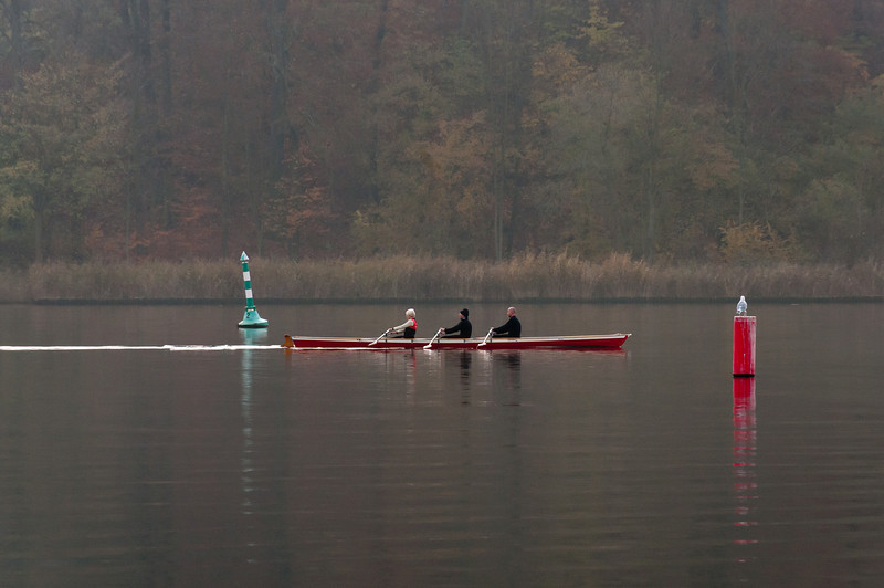 Three rowers at Lake Schwielowsee in Potsdam, Germany