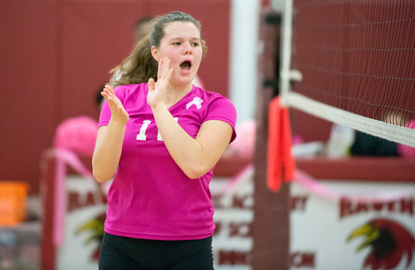 10/09/19 Wesley Bunnell | Staff Innovation girls volleyball defeated Wheeler 3-0 on Wednesday afternoon. Katherine Palombizio (10) reacts after a point.
