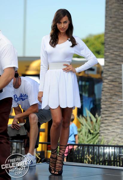 Irina Shayk Wearing White With Epic Strapped Heels, LA