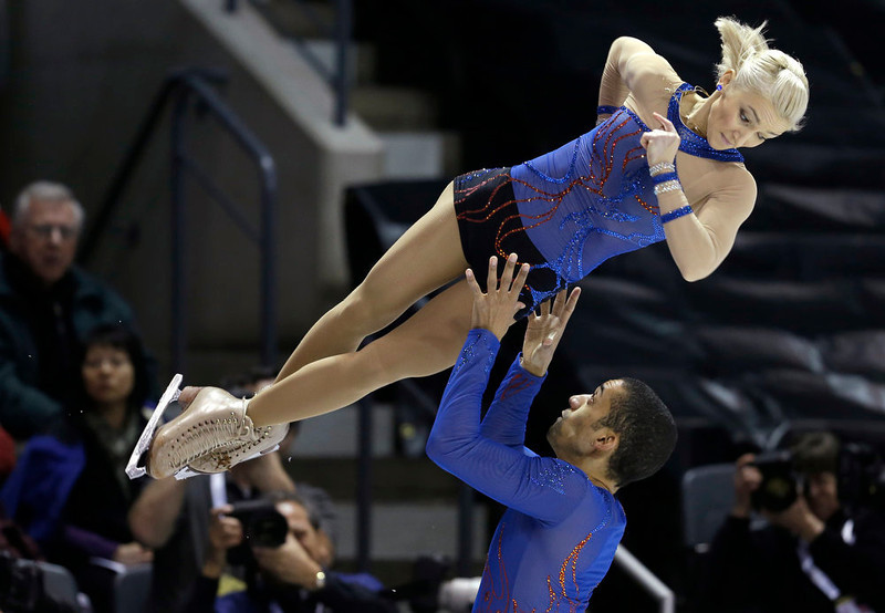 . Aliona Savchenko and Robin Szolkowy, of Germany, perform during the pairs short program at the World Figure Skating Championships Wednesday, March 13, 2013, in London, Ontario. (AP Photo/Darron Cummings)