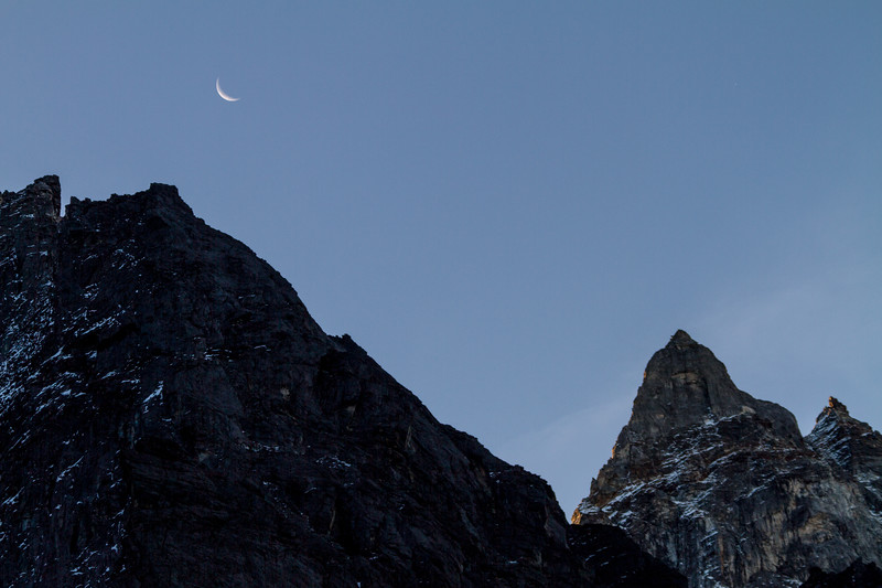 View of rocky mountains against moon - Nepal