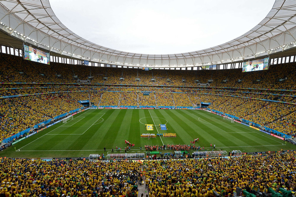 . A general view shows the Mane Garrincha National Stadium in Brasilia at the start of the Group A football match between Cameroon and Brazil during the 2014 FIFA World Cup, on June 23, 2014.  EVARISTO SA/AFP/Getty Images