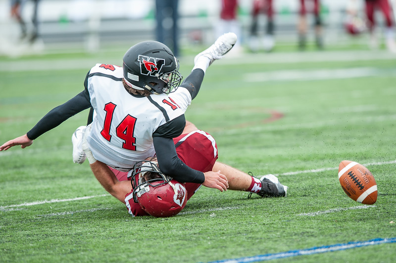 Bates' Tyler Harrington hauls Wesleyan quarterback Dan Smith to the ground after causing a fumble during Saturday's game in Lewiston. (Russ Dillingham/Sun Journal)