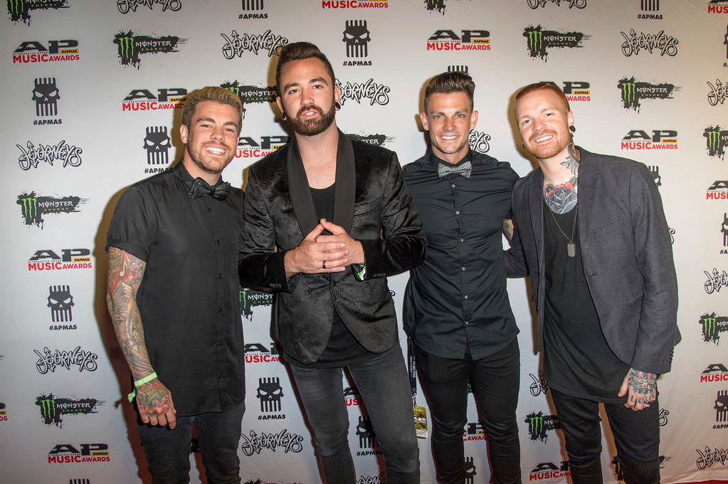 . Jake Garland, from left, Cory Elder, Kellen McGregor and Matty Mullins of Memphis May Fire seen at 2017 Alternative Press Music Awards at the KeyBank State Theatre on Monday, July 17, 2017, in Cleveland. (Photo by Amy Harris/Invision/AP)