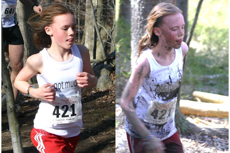 """""""Got Mud?"""" Kristina Dittrich before and after mud in 2007."""