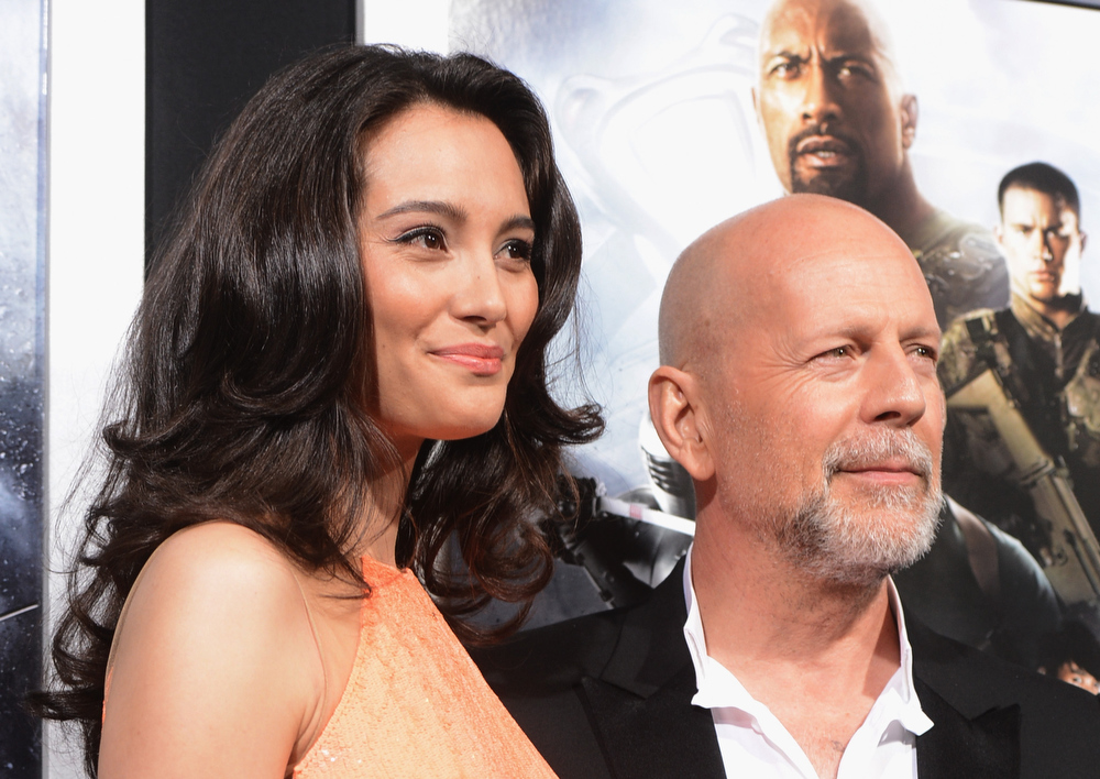". Emma Heming Willis and actor Bruce Willis attends the premiere of Paramount Pictures\' ""G.I. Joe:Retaliation\"" at TCL Chinese Theatre on March 28, 2013 in Hollywood, California.  (Photo by Kevin Winter/Getty Images)"