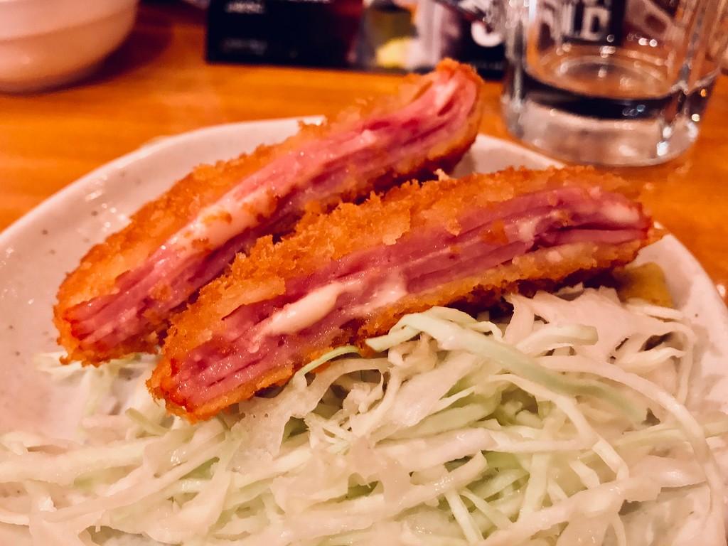 Ham katsu with cheese.