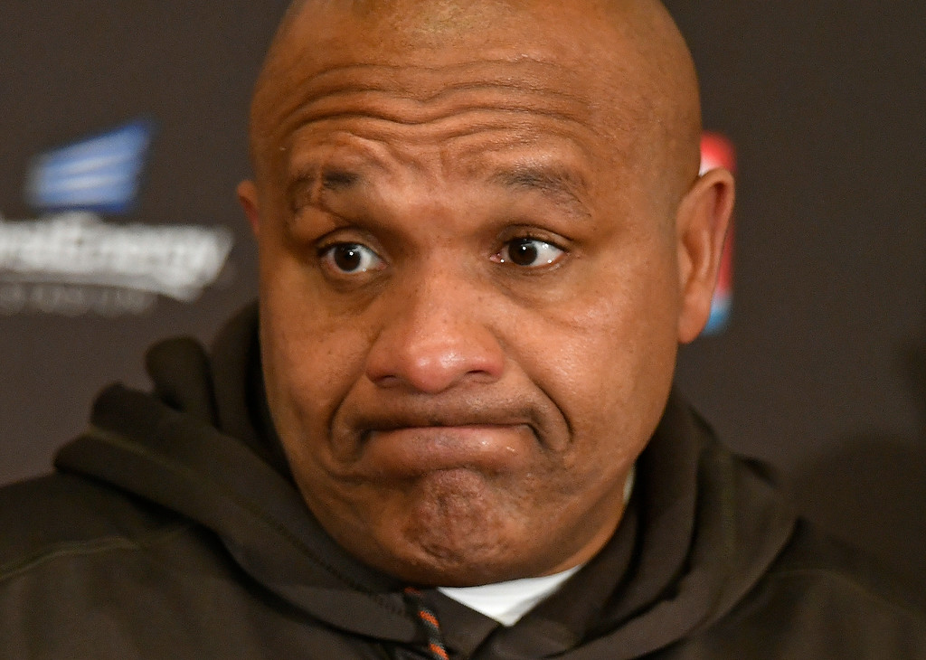 . Cleveland Browns head coach Hue Jackson answers questions during a news conference after the Baltimore Ravens defeated his team in an NFL football game, Sunday, Dec. 17, 2017, in Cleveland. (AP Photo/David Richard)
