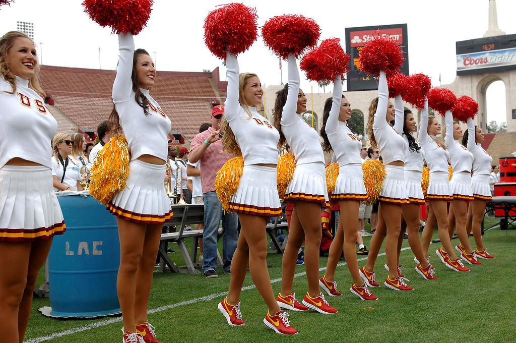 . USC cheerleaders perform at the Spring Football Game. (Michael Owen Baker/Staff Photographer)