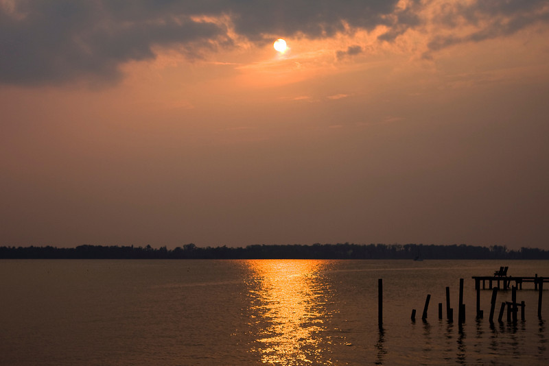 The sun setting over Pasquotank River, NC
