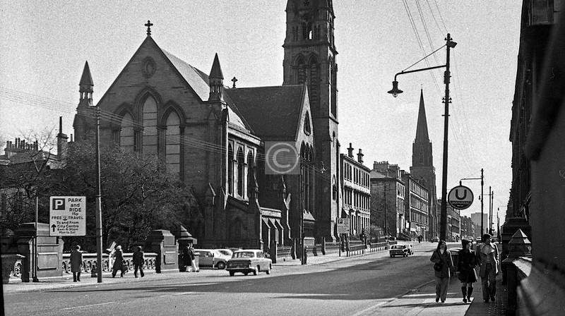 Great Western Road from Kelvin Bridge.   March 1974