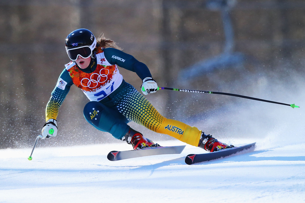 . Greta Small of Australia skis during the Alpine Skiing Women\'s Downhill on day 5 of the Sochi 2014 Winter Olympics at Rosa Khutor Alpine Center on February 12, 2014 in Sochi, Russia.  (Photo by Clive Rose/Getty Images)