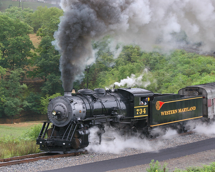 #734 Steaming in the rain Western Maryland Scenic Railroad