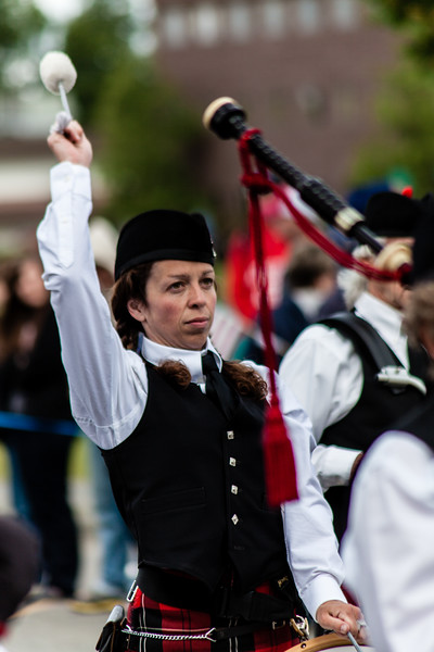 Scottish band member in fourth of July parade