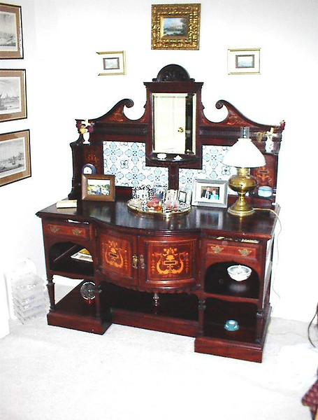 Matching marquetry wash stand with Delft tile inlays. $600