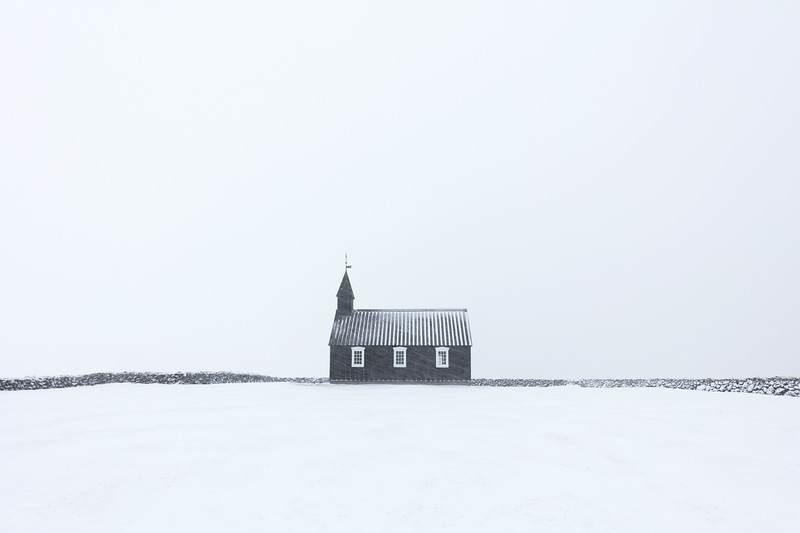 Black church budir iceland winter snow minimalism.jpg