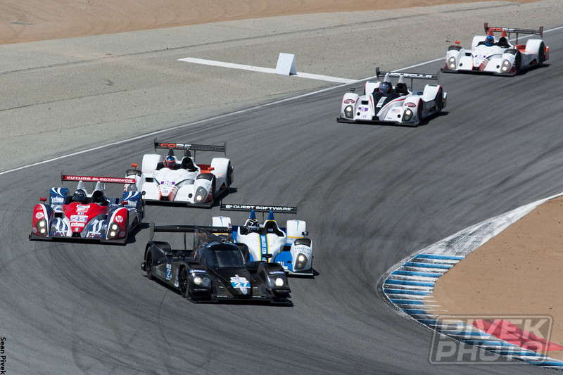 The Dempsey Lola P2 entry holding up the LMPC field.