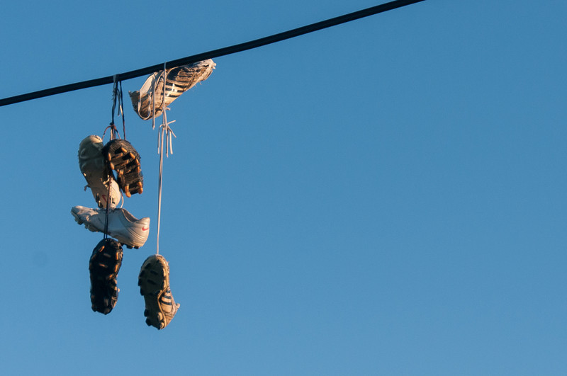 Hanging shoes in Caye Caulker, Belize