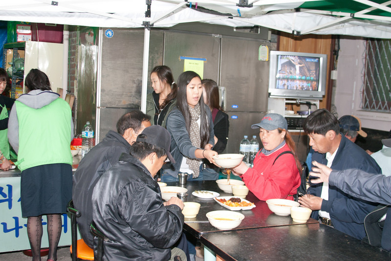Serving lunch to the homeless, second shift