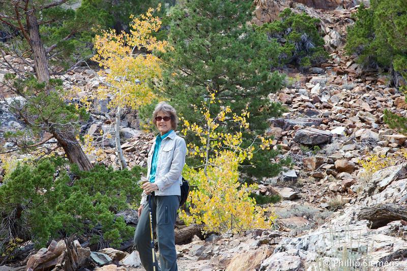 Karen, on the trail near Lundy Lake