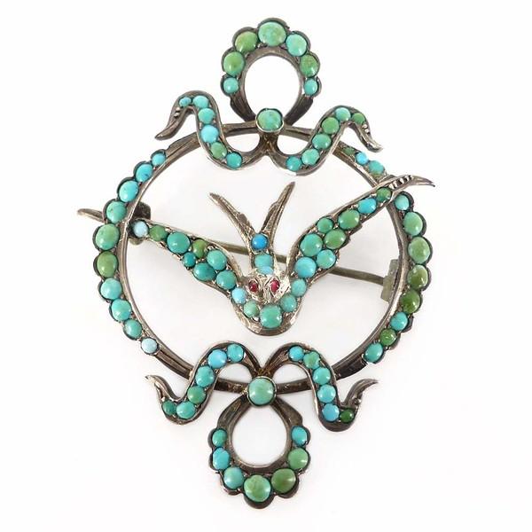 Antique Victorian Silver St Esprit Turquoise Bird Brooch Pendant