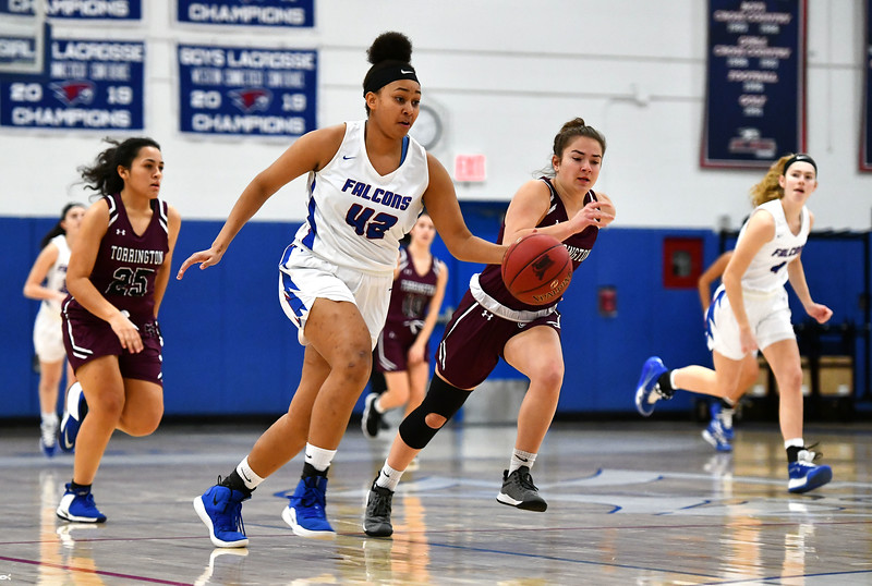 1/10/2020 Mike Orazzi | Staff St. Paul's Jade Udoh (42) against Torrington at St. Paul in Bristol Friday night.