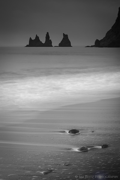 Monochromatic image of beach & surf, near Vik in sourthern Iceland.