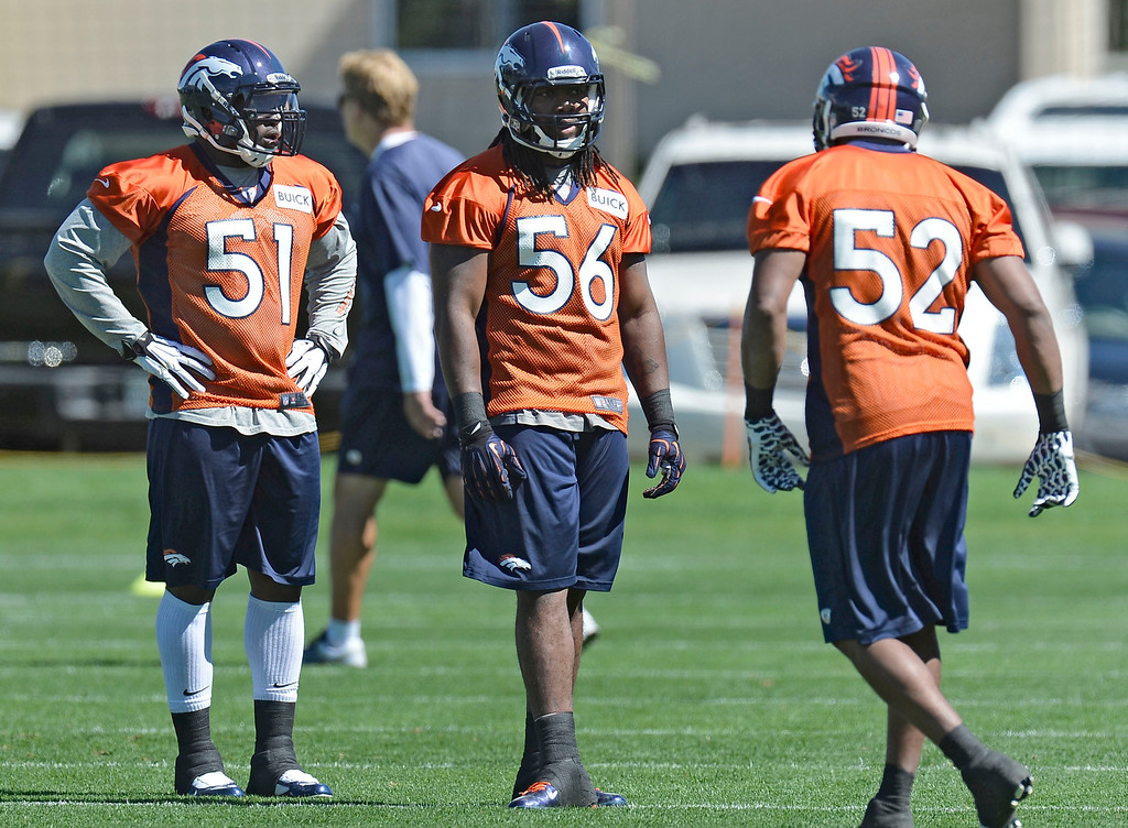 . Denver Broncos Joe Mays (51) Nate Irving (56) and Wesley Woodyard (52) run through drills during OTA\'s May 30, 2013 at Dove Valley. (Photo By John Leyba/The Denver Post)