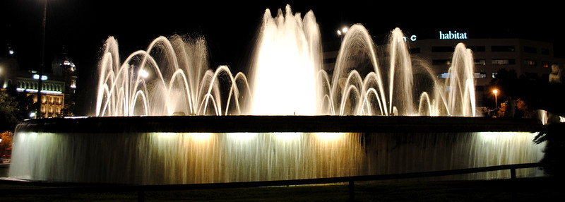 Fountains in Barcelona's Plaza Catalunya