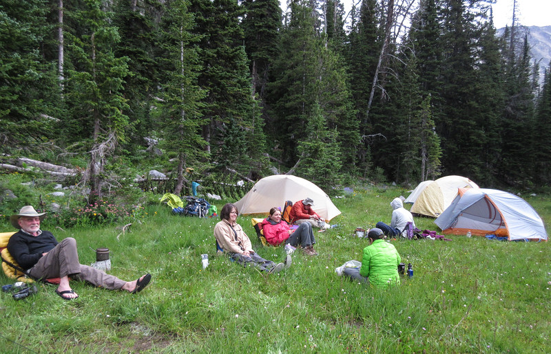 A brief rain had driven us into out tents.  But it had stopped and so it was time to make dinner.