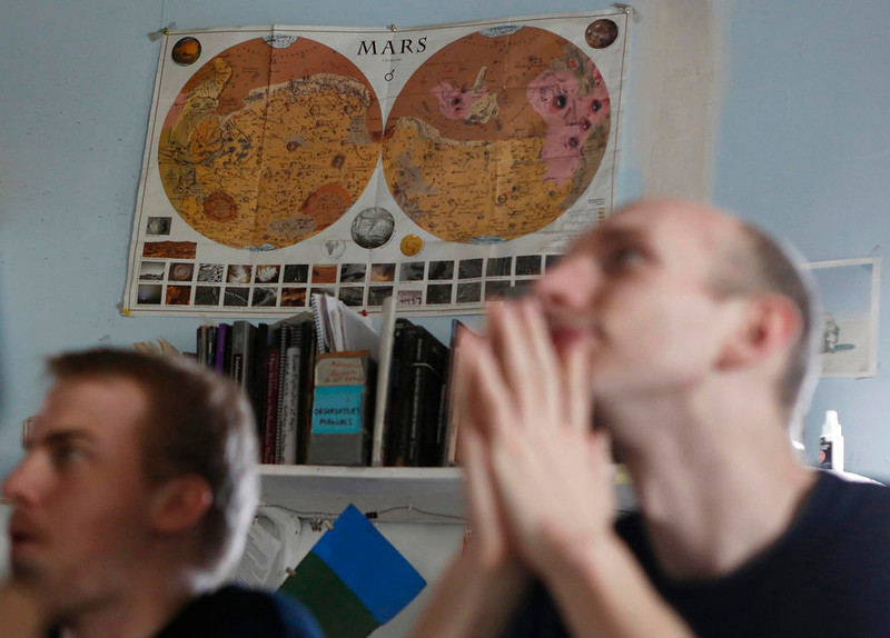 . A vintage map of Mars hangs on the wall at the Mars Desert Research Station (MDRS) outside Hanksville in the Utah desert March 2, 2013.  REUTERS/Jim Urquhart