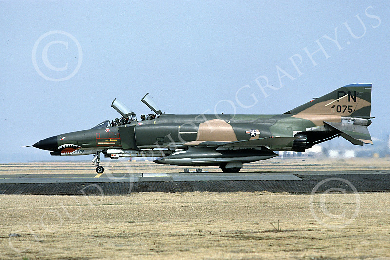 F-4USAF 00055 A taxing McDonnell Douglas F-4E Phantom II USAF 711075 3TFS 3rd TFW PN code SHARKMOUTH Yokota AB 3-1980 military airplane picture by Clark Hansen.JPG