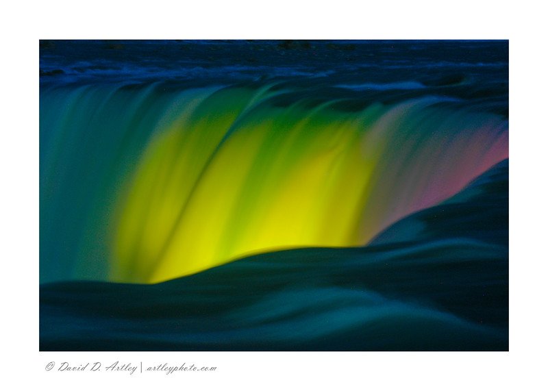 Light show on the Horseshoe Falls, from Canadian side, Niagara Falls, Ontario, Canada
