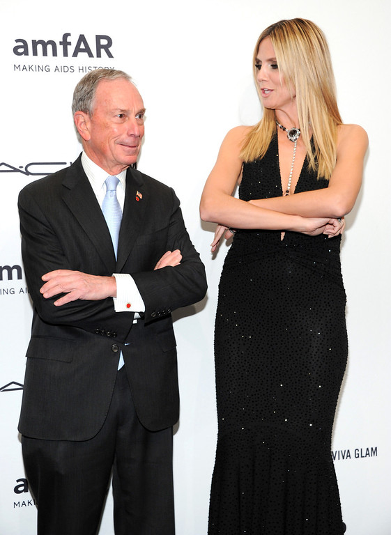 . New York Mayor Michael Bloomberg and honoree Heidi Klum attend amfAR\'s New York gala at Cipriani Wall Street on Wednesday, Feb. 6, 2013 in New York. (Photo by Evan Agostini/Invision/AP)