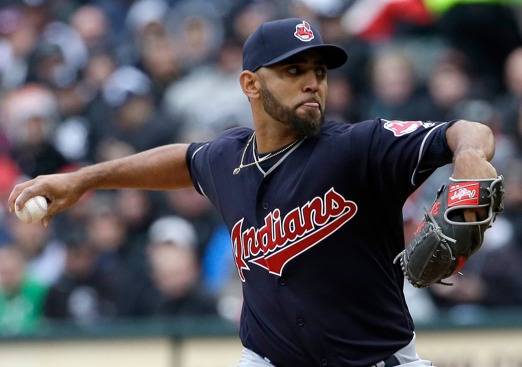 . Cleveland Indians starter Danny Salazar throws against the Chicago White Sox during the first inning of a baseball game Friday, April 8, 2016, in Chicago. (AP Photo/Nam Y. Huh)