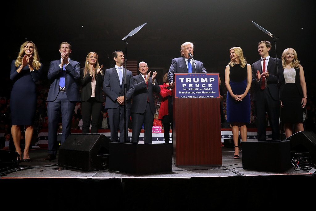 . MANCHESTER, NH - NOVEMBER 07:  Republican presidential nominee Donald Trump (C) is joined on stage by his family (L-R) Lara Yunaska, Eric Trump, Vannessa Trump, Donald Trump Jr., vice presidential candidate Mike Pence, Ivanka Trump, Jared Kushner and Tiffany Trump during a campaign rally at the SNHU Arena November 7, 2016 in Manchester, New Hampshire. With less than 24 hours until Election Day in the United States, Trump and his opponent, Democratic presidential nominee Hillary Clinton, are campaigning in key battleground states that each must win to take the White House.  (Photo by Chip Somodevilla/Getty Images)